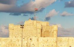 Qaetbay城堡亚历山大历史视图  免版税图库摄影