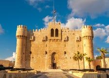 Qaetbay城堡亚历山大历史视图  库存照片