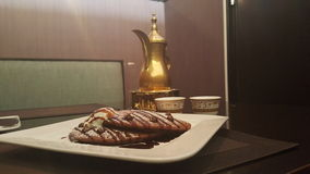Qahwa sessions. Nutella pancakes with qahwa & x28;arabic coffee& x29 Stock Photography