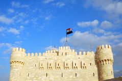 Qaitbay Castle under blue sky Stock Photo