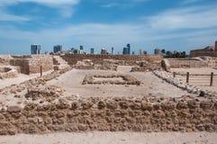 Qal'At Al Bahrain Fort, ö av Bahrain Arkivbild