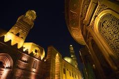 Qalawun复合体在晚上,伊斯兰教的开罗,埃及 库存照片