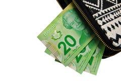 Qallet de femme avec l'argent canadien Photo libre de droits