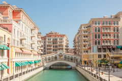 Qanat Quartier at The Pearl, Qatar Royalty Free Stock Images