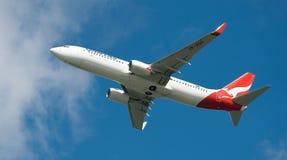 Qantas A330 durante il volo Fotografie Stock Libere da Diritti