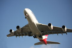 Qantas A380 prepares to land Stock Photo