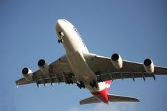 Qantas A380 treft te landen voorbereidingen Stock Foto