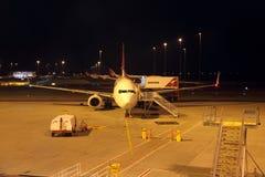 Qantas Airbus A330 Aircraft at Night. A Qantas Airbus A330 airplane on the tarmac at Perth International Airport at night, during the Qantas staff strike action Stock Images