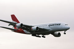 Qantas Airbus A380 airliner in flight. Royalty Free Stock Photo