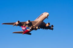 Qantas Airbus A380 airliner in flight Royalty Free Stock Image