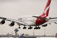 Qantas Airbus A380 airliner landing. Stock Image