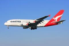 Qantas Airbus A380 in flight. Qantas Airbus A380 in flight approaching landing Stock Photography