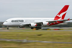 Qantas Airbus A380 in motion on runway. Royalty Free Stock Photography