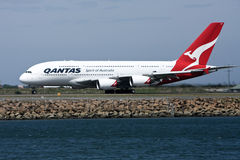Qantas Airbus A380 on runway. 4 November 2010: A midair explosion in an engine of a Qantas A380 airliner forces an emergency landing in Singapore, and grounding Royalty Free Stock Images