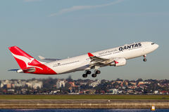 Qantas Airbus A330 aircraft taking off from Sydney Airport. Stock Photography