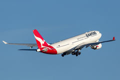 Qantas Airbus A330 aircraft taking off from Sydney Airport. Royalty Free Stock Images