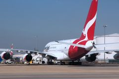 Qantas Airbus A380. LONDON, UK - APRIL 16, 2014: Qantas Airbus A380 at London Heathrow airport. Qantas is the flag carrier of Australia and has 12 A380s in fleet Stock Photo