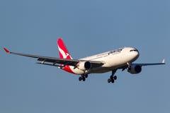 Qantas Airbus A330-202 VH-EBO on approach to land at Melbourne International Airport. Melbourne, Australia - September 25, 2011: Qantas Airbus A330-202 VH-EBO Stock Image