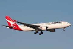 Qantas Airbus A330-202 VH-EBO on approach to land at Melbourne International Airport. Melbourne, Australia - September 25, 2011: Qantas Airbus A330-202 VH-EBO Stock Photos