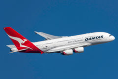 Qantas Airbus A380-842 VH-OQD departing Melbourne International Airport. Stock Image
