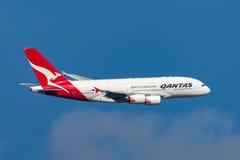 Qantas Airbus A380-842 VH-OQG departing Melbourne International Airport. Melbourne, Australia - September 24, 2011: Qantas Airbus A380-842 VH-OQG departing Royalty Free Stock Photos