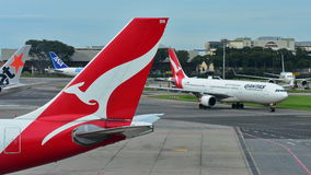 Qantas Airbus A330 widebody jet taxiing at Changi Airport Stock Image