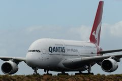Qantas Airlines Airbus A380 after arriving in Sydney. In February 2018 Royalty Free Stock Images