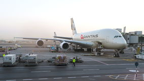 Qantas Airways A380 airplane being maintained at the airport. Conceptual editorial Stock Photography