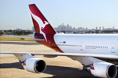Qantas Airways jet plane at Sydney Airport Sydney, Australia Stock Images