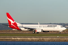Qantas Boeing 737-800 aircraft at Sydney Airport. Royalty Free Stock Images