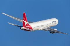 Qantas Boeing 767 airliner taking off from Sydney Airport. Stock Photography