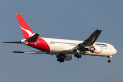 Qantas Boeing 767-338/ER VH-OGN on approach to land at Melbourne International Airport. Stock Image