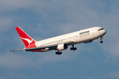 Qantas Boeing 767-338/ER VH-OGN turning on approach to land at Melbourne International Airport. Stock Photos