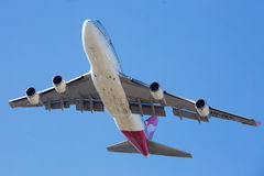 Qantas Boeing 747-400 Flying Royalty Free Stock Photo