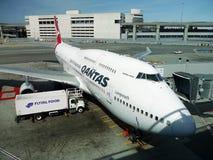 Boeing 747 Jumbo. Qantas airways. Qantas Boeing 747 Jumbo. San francisco International Airport. California, USA. September 29, 2017 Royalty Free Stock Photography