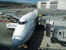 Boeing 747 Jumbo. Qantas airways. Qantas Boeing 747 Jumbo. San francisco International Airport. California, USA. September 29, 2017 Stock Image