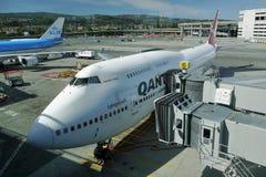 Boeing 747 Jumbo. Qantas airways. Qantas Boeing 747 Jumbo. San francisco International Airport. California, USA. September 29, 2017 Royalty Free Stock Images
