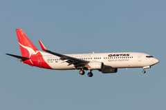 Qantas Boeing 737-838 VH-VXO on approach to land at Melbourne International Airport. Melbourne, Australia - September 25, 2011: Qantas Boeing 737-838 VH-VXO on Royalty Free Stock Images