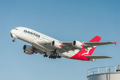 Qantas flygbuss A380 Royaltyfri Fotografi