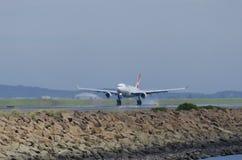 QANTAS Landing on Hot Runway Royalty Free Stock Photos