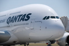 Qantas A380 Perth Airport Stock Images