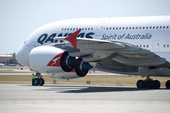 Qantas A380 Perth Airport Royalty Free Stock Photo