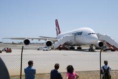 Qantas A380 Perth lotnisko Zdjęcie Stock