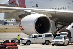 Qantas A380 Perth lotnisko Obrazy Royalty Free