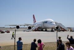 Qantas A380 Perth lotnisko Zdjęcia Stock
