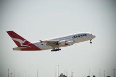 Qantas A380 Perth lotnisko Zdjęcie Royalty Free