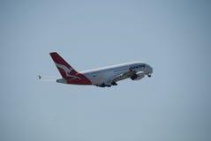 Qantas A380 Perth lotnisko Obraz Royalty Free