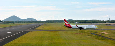 Qantas plane in Cairns Airport, Queensland Australia Royalty Free Stock Photography
