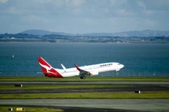 Qantas plane takeoff Stock Photography