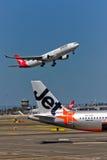 Qantas A330 takeoff Stock Photo